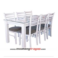 Bàn CN Ca-ro NQ 1M6 (Trắng) + 6 ghế NQ1 trắng nệm (có kính)