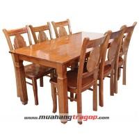 Bàn CN K1 1m6 + 6 ghế bông lúa