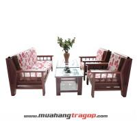 Bàn ghế Salon gỗ HA 01 (có kính + nệm)