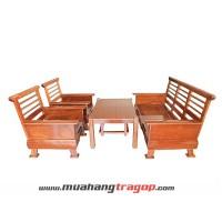 Bàn ghế Salon gỗ HN1 (có kính + nệm)