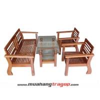 Bàn ghế Salon gỗ HN2 (có kính + nệm)