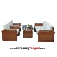Bàn ghế Salon gỗ HN3 (có kính + nệm)