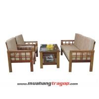 Bàn ghế Salon gỗ VM1 (có kính + nệm)