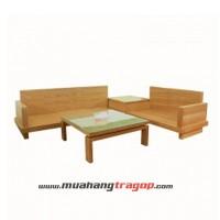 Bàn ghế Salon gỗ HN6 gỗ tự nhiên veneer sồi (có kính)