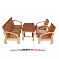 Bàn ghế Salon gỗ HQ 5 chỗ (có kính)