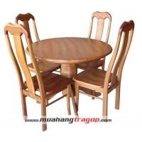 Bàn tròn 1m + 4 ghế đầu bò