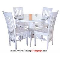 Bàn tròn NQ 1M trắng + 4 ghế NQ SI 2001 trắng (có kính)