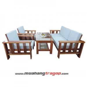 Bàn ghế Salon gỗ HA 02 (có kính + nệm)